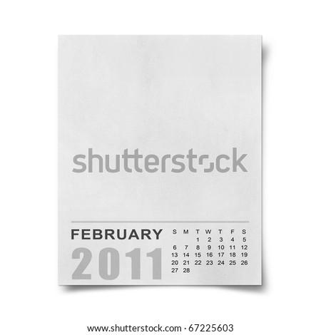 Calendar 2011 Note paper on white background.february - stock photo