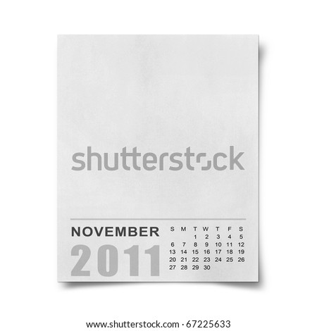 Calendar 2011 Note paper on white background .november - stock photo