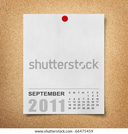 Calendar 2011 Note paper pined on cork board. september - stock photo