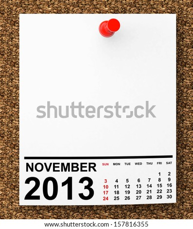 Calendar November 2013 on blank note paper with free space for your text - stock photo