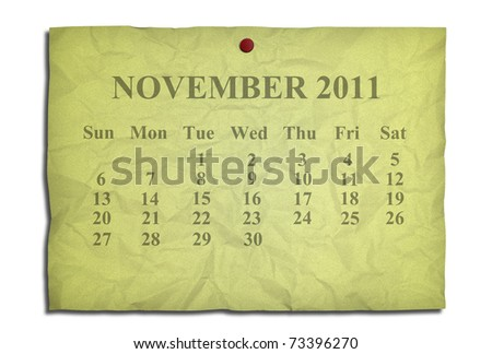 Calendar november 2011 on old Crumpled paper - stock photo