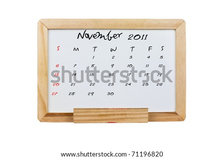 Calendar 2011, November on Whiteboard background