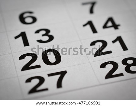 calendar number close up twenty holiday week