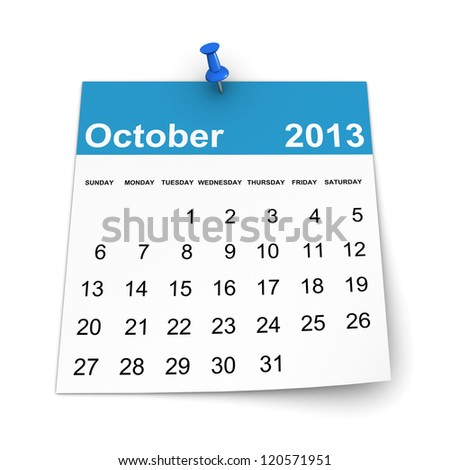 Calendar 2013 - October - stock photo