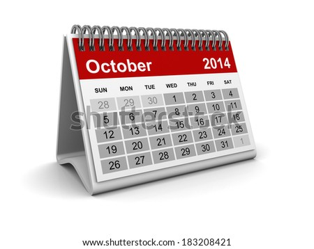 Calendar 2014 - October - stock photo