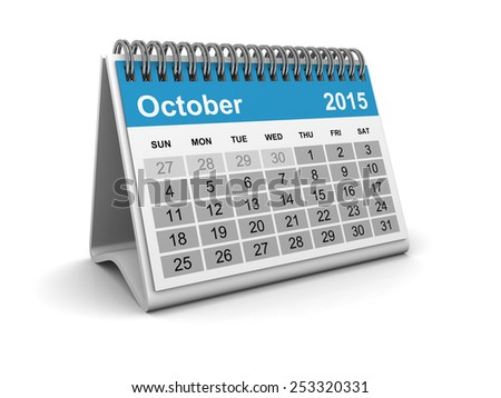 Calendar 2015 - October - stock photo