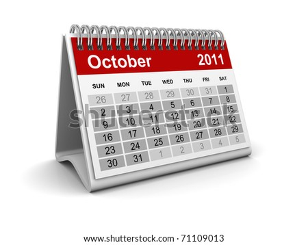 Calendar 2011 - October - stock photo