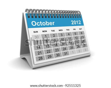 Calendar 2012 - October - stock photo