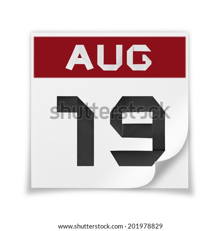Calendar of August 19, on a white background. - stock photo