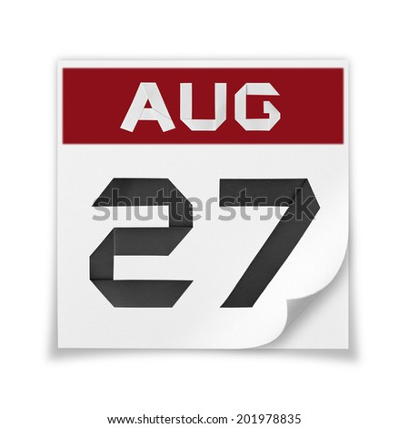 Calendar of August 27, on a white background. - stock photo