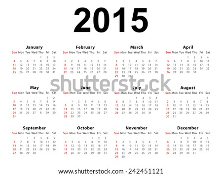Calendar of 2015 isolated on white background - stock photo