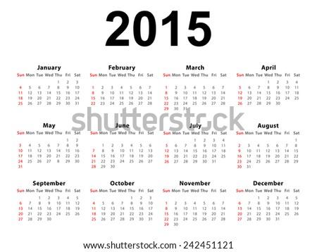 Calendar of 2015 isolated on white background - stock photo