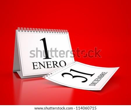 calendar of January 1 in spanish language - stock photo