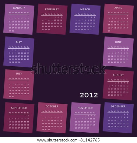 Calendar of year 2012, week starts on Monday. Vector version also available in my portfolio. - stock photo