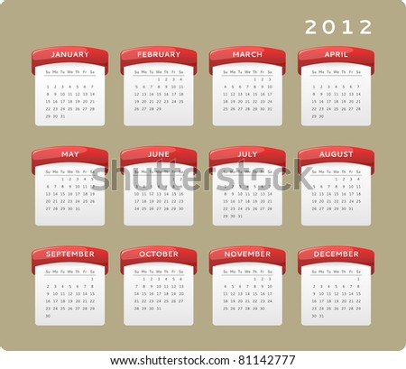 Calendar of year 2012, week starts on Sunday. Vector version also available in my portfolio. - stock photo