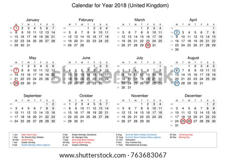 year 2018 calendar united kingdom time and date