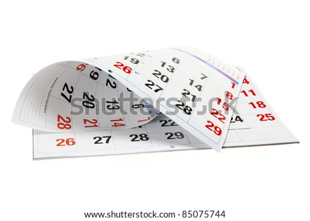 Calendar on Isolated White Background - stock photo