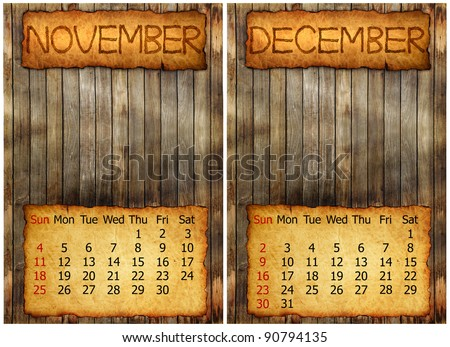 calendar 2012 on old wood