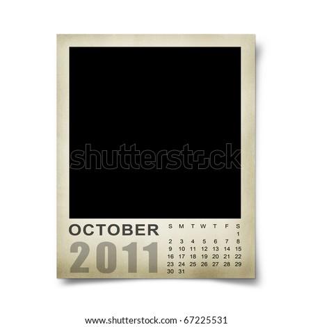 Calendar 2011 on the Empty photo blank.october - stock photo