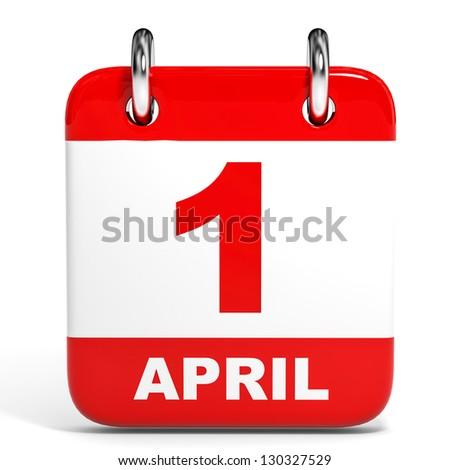 Calendar on white background. 1 April. 3D illustration. - stock photo