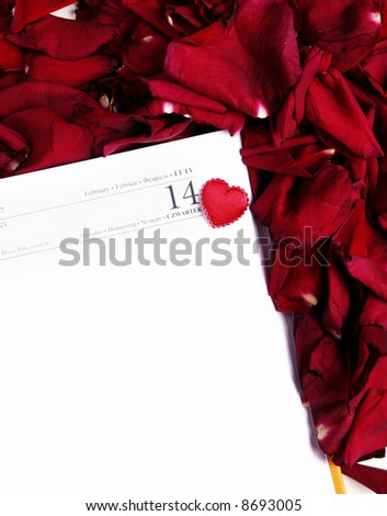 Calendar page/ February 14th - Valentine's day - stock photo