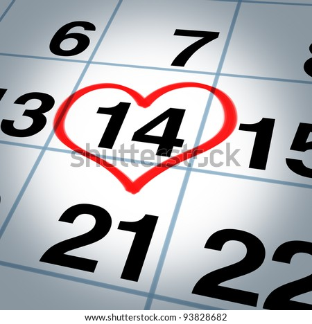 Calendar page with a red hand written heart highlight on February 14 of Saint Valentines day as a reminder and not to forget the important  date for couples to express their love and commitment. - stock photo