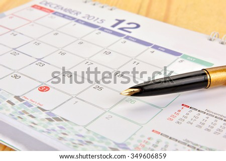 Calendar page with marked date of 31 of December 2015 - stock photo