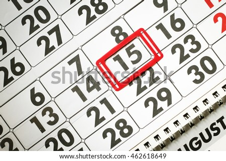 Calendar page with marked date of 15th