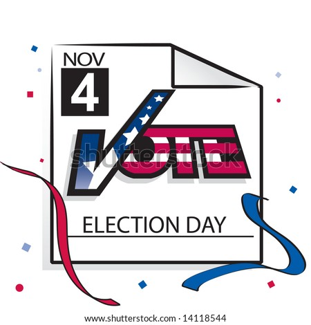 """Calendar page with """"vote"""" text for US election day, November 4 2008 in JPEG/TIFF format (Image ID for vector version: 14104777) - stock photo"""