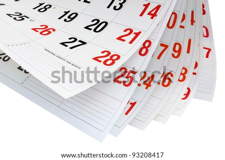 Calendar Pages on White Pages - stock photo