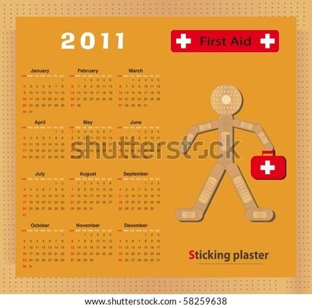 Calendar 2011 - raster  Sticking plaster Figure - stock photo