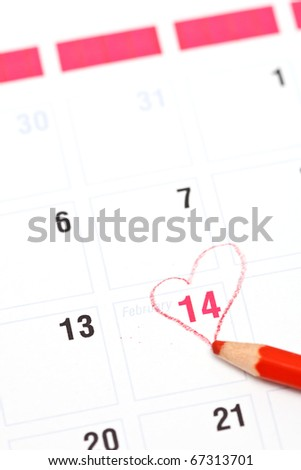 Calendar reminder 14 February St. Valentine's Day and red pencil - stock photo
