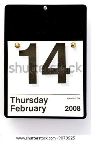 Calendar Reminder for Valentine's Day - 2008 - stock photo