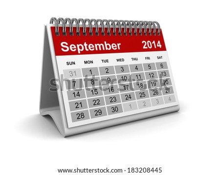 Calendar 2014 - September - stock photo