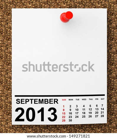 Calendar September 2013 on blank note paper with free space for your text - stock photo