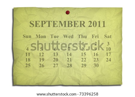 Calendar september 2011 on old Crumpled paper - stock photo