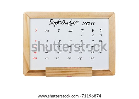 Calendar 2011, September on Whiteboard background