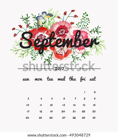 Calendar September 2017 with bouquet of flowers, butterfly and leaves, floral watercolor painting backgrounds.