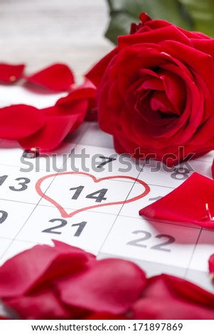 Calendar showing the date 14th of February, the Valentines Day.  - stock photo