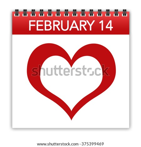 Calendar showing valentine day date and heart symbol - stock photo
