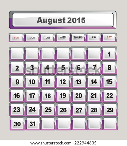 calendar template for application. August 2015 - stock photo