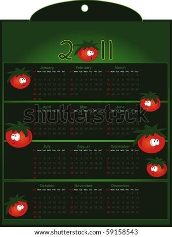Calendar Tomato - raster - stock photo
