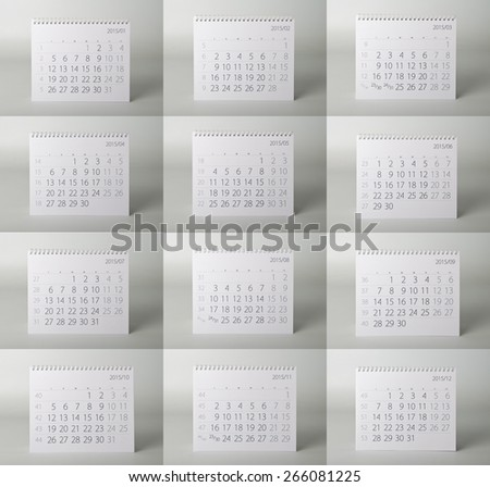 Calendar. Two thousand fifteen year calendar. Collage. - stock photo