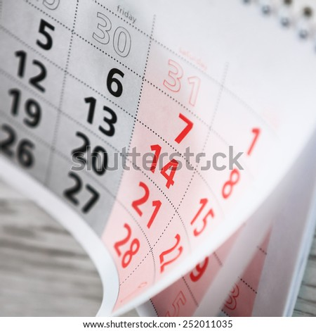 Calendar Valentine's Day. A close up photo - stock photo