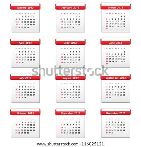 Calendar 2013. Vector available. - stock photo