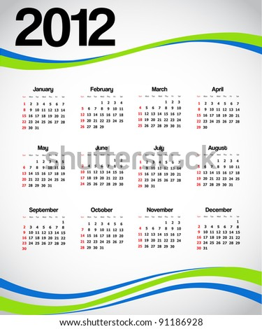 Calendar 2012. Vector available.