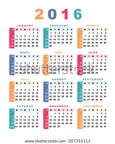Calendar 2016 (week starts with sunday). Raster version. - stock photo