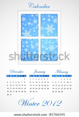 Calendar. Winter 2012 - stock photo