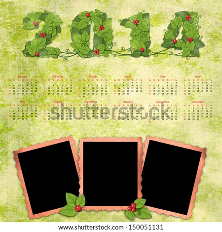 Calendar 2014 with a retro photo frames on textured background vintage.  - stock photo