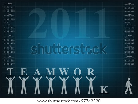 Calendar 2011 with a teamwork theme - stock photo